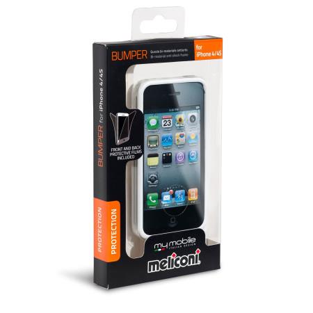 Pouzdro Meliconi iPhone 4/4s BUMPER bílé a 2ks ochraná fólie na display a zadní stranu telefonu