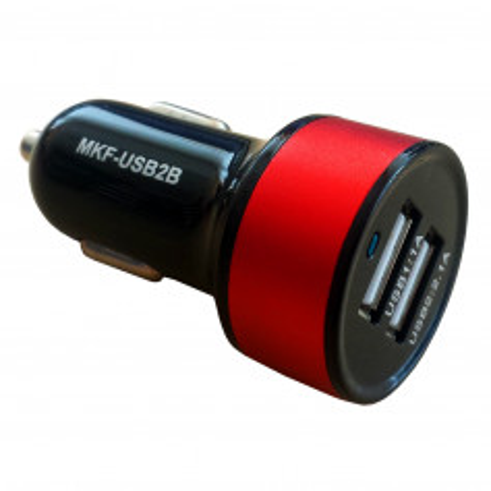 Nabíječka InHouse MKF-USB2BR Black/RED pro auto zásuvku 12V a 24V, výstup USB