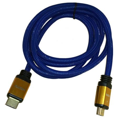 InHouse MKF-100522 kabel HDMI/HDMI 1,8m modrý, V1.4, 3D, 1080p, kovové koncovky
