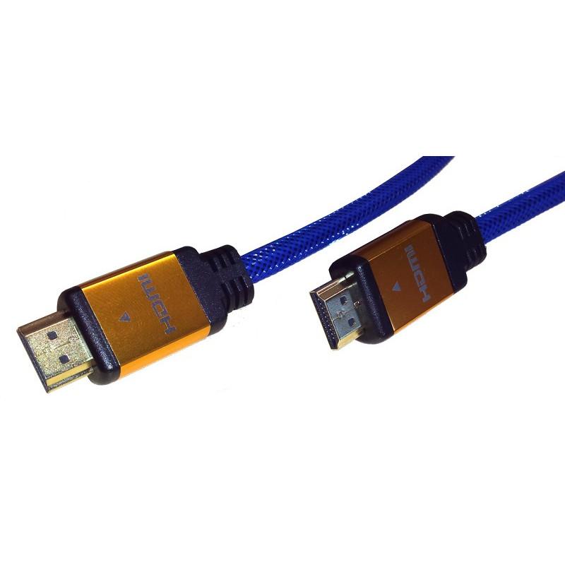 InHouse MKF-522-10m kabel HDMI/HDMI modrý, V2.0, 3D, 1080p, kovové koncovky
