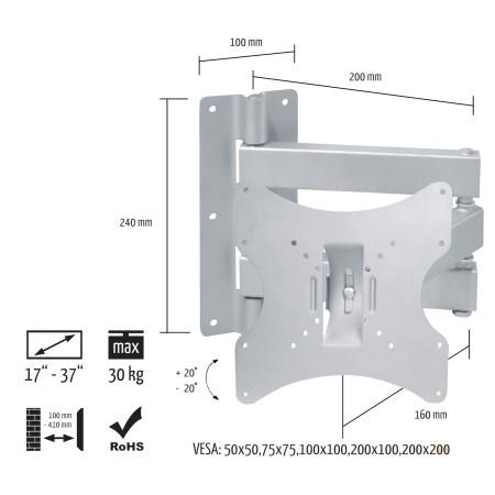 """InHouse MKF-E1460  Kloubový a nálopný držák na TV s úhlopříčkou 17""""-37"""" , Nosnost 30 kg"""