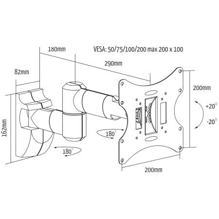 """InHouse MKF-E1458 naklápěcí a kloubový držák na TV s úhlopříčkou 17""""- 37"""". Nosnost 30 Kg, VESA max. 200x200"""