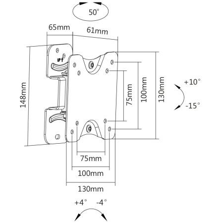 """InHouse MKF-E1450 naklápěcí a kloubový držák na TV s úhlopříčkou 13""""-27"""" Nosnost 25 Kg"""