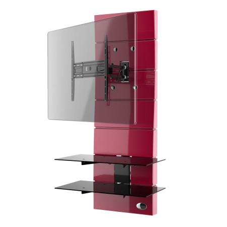 Meliconi Ghost Design 3000 Rotation Red, Televizní stojan s kloubovým držákem a 2 poličky + Čistící sada pro TV ZDARMA!