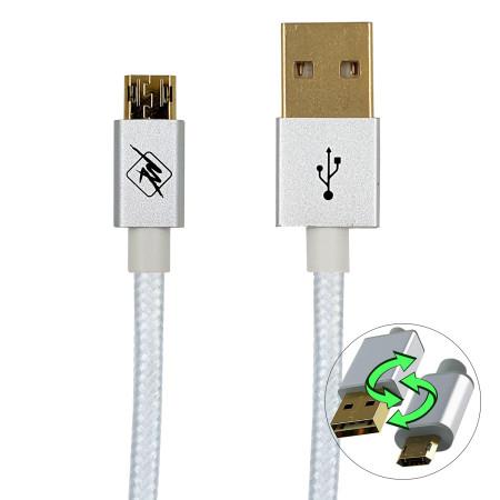 InHouse MKF-Reversible USB/ Micro USB Gold 1,2 WH, bílá, USB propojovací kabel 1,2m