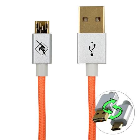 InHouse MKF-Reversible USB/ Micro USB Gold 1,2 OR, růžová, USB propojovací kabel 1,2m