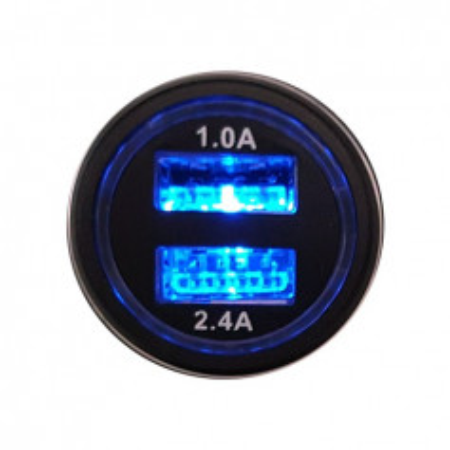 MKF Nabíječka do auta USB24ALU Black (USB 2x, 2,4A)