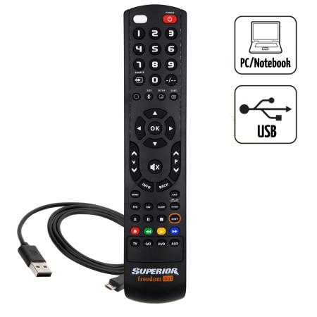 Superior FREEDOM 4v1 USB černý - Univerzální dálkový ovladač pro 4 přístroje s USB připojením k PC