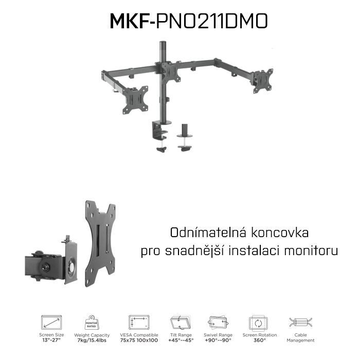 Držák na monitory, MKF-PNO211DMO, Držák, Monitory, držák na stůl