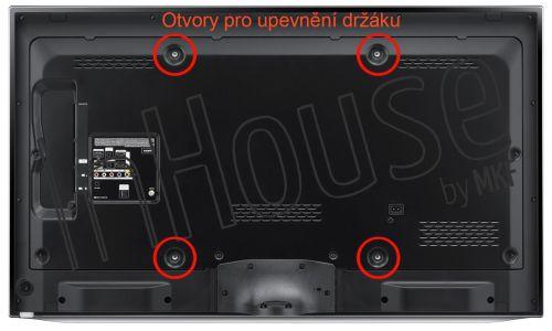 Naznačené otvory pro upevnění držáku - zadní strana televice