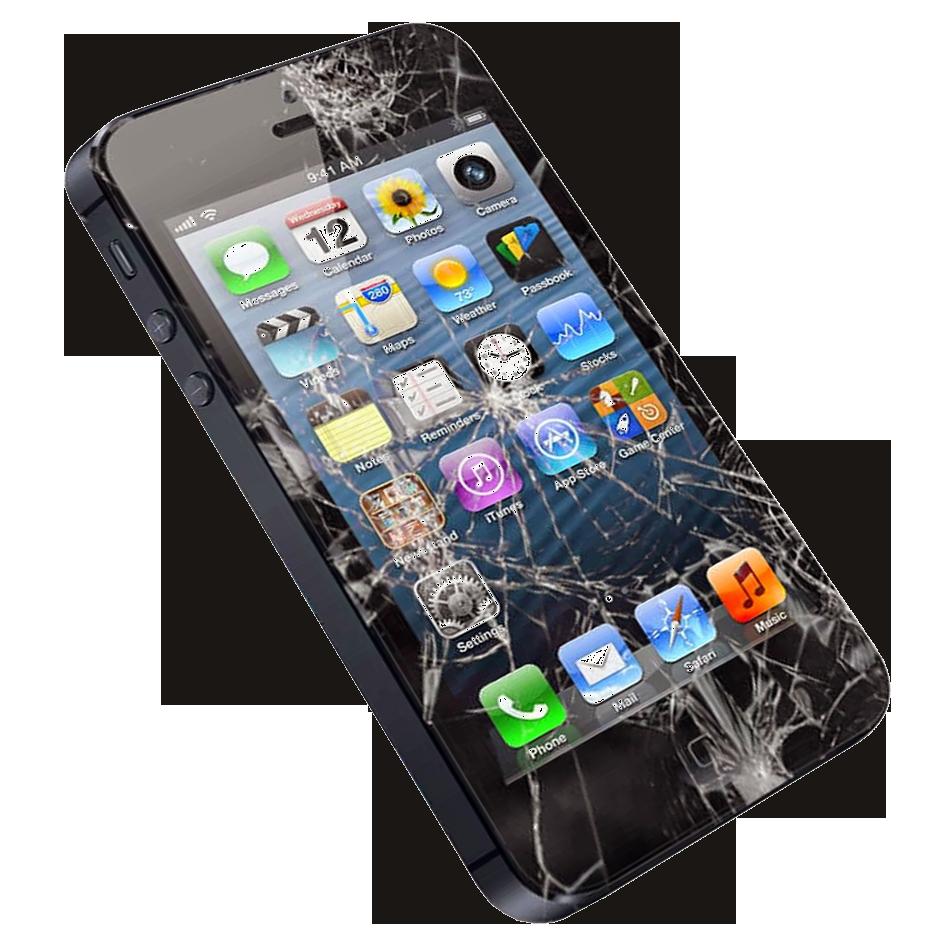 rozbité sklo mobil