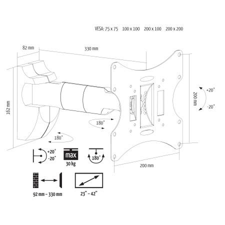 """InHouse MKF-E1461 naklápěcí a kloubový držák na TV s úhlopříčkou 17""""- 37"""". Nosnost 30 Kg, VESA max. 200x200"""