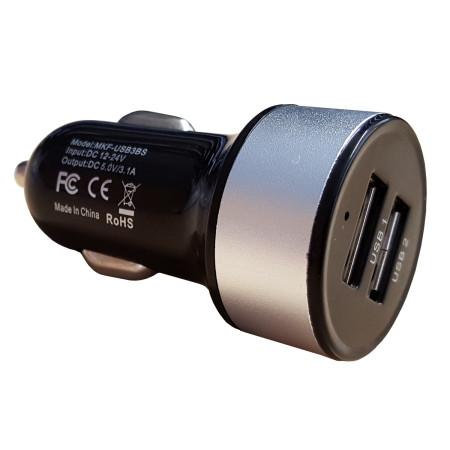 InHouse USB nabíječka do auta MKF-USB3BS, Black/Silver, Vstup 12V až 24V, výstup 2xUSB 5V/3,1A