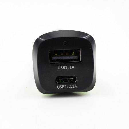 Nabíječka MKF-USB C / A BG3,1A Black/Green pro auto zásuvku 12V a 24V, výstup 1xUSB+1xUSB C