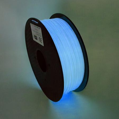 MKF Filament MKF-PLA F1.75 bílá/modře FOSFORESKUJÍCÍ, Tisková struna PLA 1,75 mm 1 Kg pro 3D tiskárnu