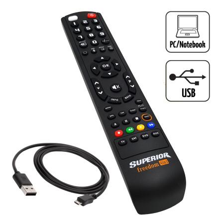 Superior FREEDOM 4v1NEW USB černý Univerzální dálkový ovladač pro 4 přístroje s USB připojením k PC