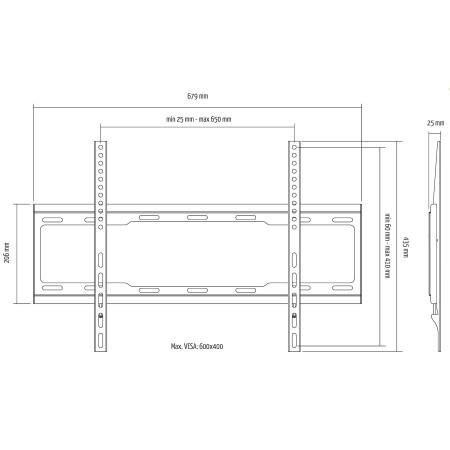 """InHouse MKF-EF1303 Univerzální fixní držák na TV s úhlopříčkou 37""""-70"""", Nosnost 40 Kg"""